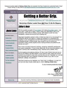 Getting a Better Grip | LeadershipTraction Newsletter