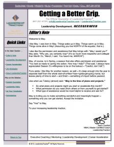 Getting a Better Grip. | LeadershipTraction Newsletter