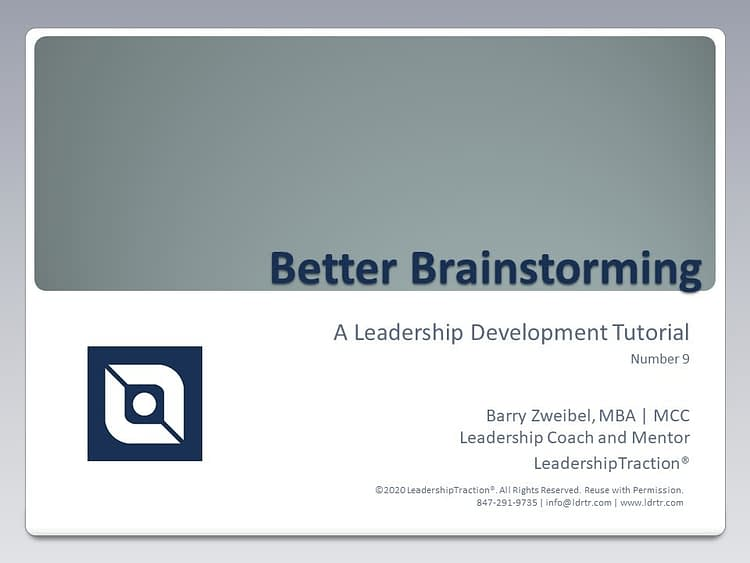 Another Leadershp Tutorial (09) from LeadershipTraction®