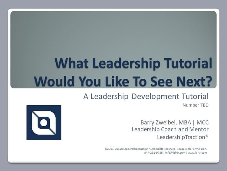 Another Leadershp Tutorial (tbd) from LeadershipTraction®